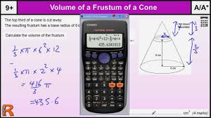 volume of a cone frustum gcse maths revision exam paper