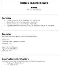 Child Care Worker Sample Resume Modest Decoration Childcare Resume Template Extraordinary Ideas