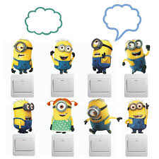 despicable me 2 minion movie wall switch stickers vinyl art decals