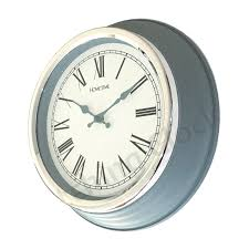 traditional hometime powder blue wall clock with chrome bezel