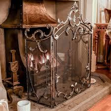 antique look iron fire guard freestanding fireplace safety screen