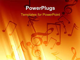 powerpoint template soft orange background with some music notes