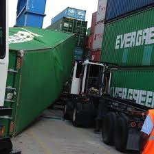 shipping container falls on truck at north charleston port
