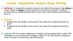comparative analysis essay sample today independent work day 1 finish comparative essay work a lesson comparative analysis essay writing 1 definition 1 definition a comparative analysis