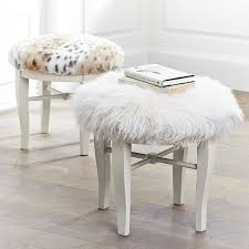 glam vanity stool snow leopard pbteen