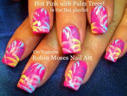 easy neon blue nails tropical beach vacation nail art design