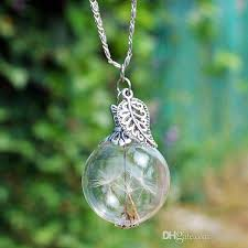 wish necklace images Wholesale 25mm dandelion real seed glass bulb wish necklace jpg