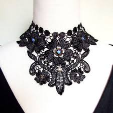 black lace collar necklace images Sale large black floral lace choker from artsgifts on etsy jpg
