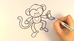how to draw a cartoon monkey holding a banana youtube