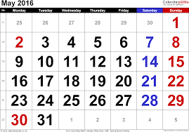 calendar may 2016 uk bank holidays excel pdf word templates