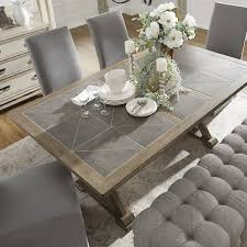 tile top dining room tables pennington grey wood rectangular tile top trestle dining table by