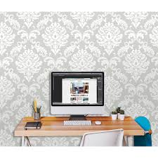 nuwallpaper grey nouveau damask peel and stick wallpaper nu1827