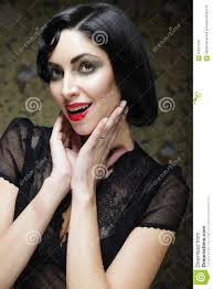 fashion art portrait vamp style glamour vampire woman stock