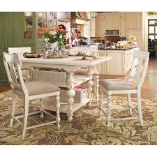 paula deen home 5 piece round pedestal dining set linen with