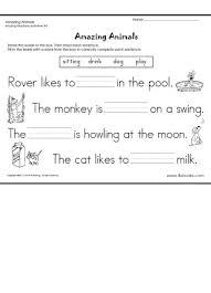 reading readiness worksheets kindergarten amazing animals