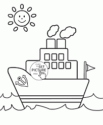small ship and sun coloring page for toddlers transportation
