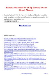 yamaha outboard 9 9 15 hp factory service repair manual pdf by