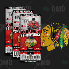 sports invites chicago blackhawks ticket style sports party