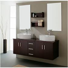 Cool Bathroom Storage Ideas by Fancy Brown Bathroom Themed With Modern Dark Wood Vanity Design