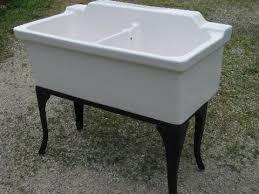 Farmhouse Vintage Ironstone Porcelain Double Basin Farm Kitchen Sink - Kitchen sink on legs