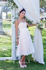tea length wedding dresses uk lace strapless a line scalloped tea length wedding