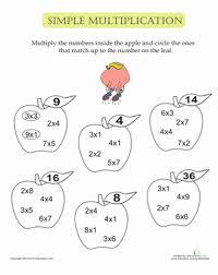 simple multiplication apples worksheet education com