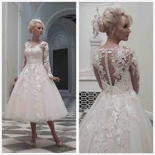 online get cheap tulle tea length vintage lace wedding dress