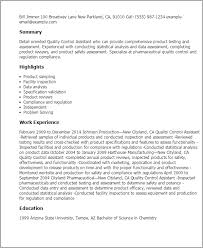 Unit Clerk Job Description For Resume by Professional Quality Control Assistant Templates To Showcase Your