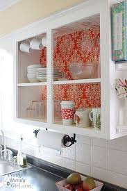 how to update rental kitchen cabinets then you can line your doorless cabinets with fabric for a gorgeous