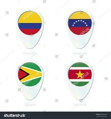 Venezual Flag Colombia Venezuela Guyana Suriname Flag Location Stock