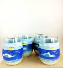 reserved for kathy lapose set of four glasses stemless wine