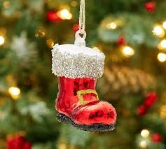 german glitter santa boot ornament pottery barn
