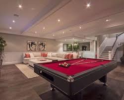 game room basement living room