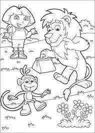 dora explorer boots monkey lion coloring animal
