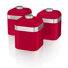 swan retro storage canisters red 3 piece amazon co uk kitchen