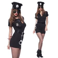 cop halloween costume police women officer cop role play uniform costume complete