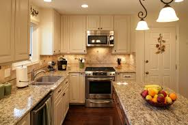 kitchen room ideas beige wooden kitchen cabinet and beige tile backsplash also grey