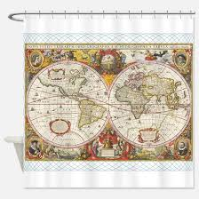 Shower Curtain World Map Old World Maps Shower Curtains Cafepress