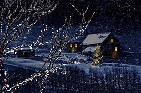 Winter Houses Photos Christmas Winter Nature Snowflakes New Year Tree Snow Night