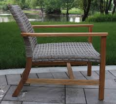 teak wood and ash wicker all weather lounge chair 2pk