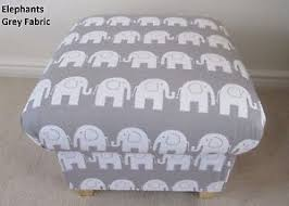 Shabby Chic Footstool by Grey Elephants Fabric Footstool White Pouffe Footstall Shabby Chic