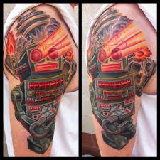 vintage robot color tattoo by phil robertson tattoos