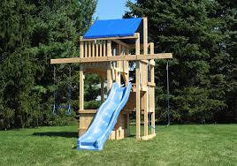 cedar swing sets the space saver tower wooden swingsets