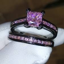 black wedding rings with pink diamonds get cheap wedding bands pink gold aliexpress alibaba