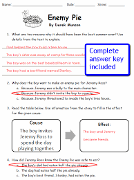 picture comprehension worksheets enemy pie comprehension worksheets caboodle