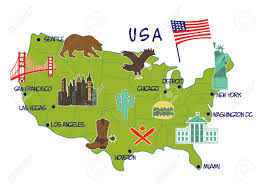 Map Usa San Francisco by Vector Illustration Of Map Of Usa With Typical Features Royalty