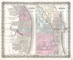 Chicago Map Art by File 1855 Colton Plan Or Map Of Chicago Illinois And St Louis