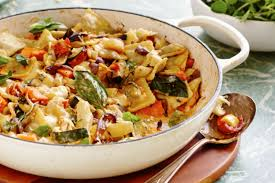 baked spring vegetables with fresh ravioli