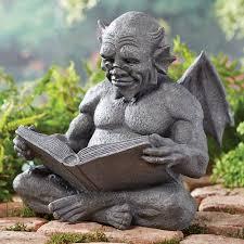 reading gargoyle garden sculpture weatherproof cast resin