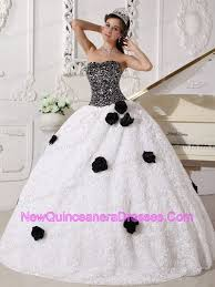 black and white quinceanera dresses white and black quinceanera dress strapless sequins flowers 225 05
